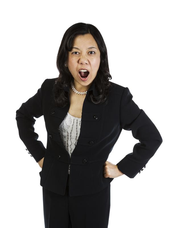 Mature Asian Woman Boss Yelling